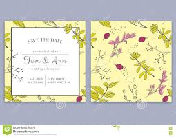 Guest Invitation Card Vector Template Of Wedding Invitation Card With Herbs Save The