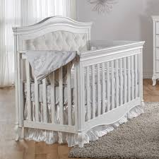 Davenport Nursery Furniture by Pali Diamante Classic White Upholstered Baby Crib Perfect For