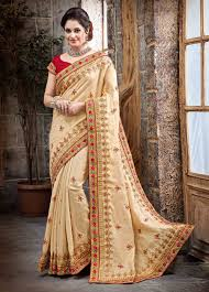 sarees for indian receptions online beige reception wear saree