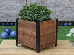 recycled wood grapevine square garden recycled wood planter box