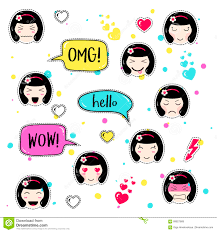 set cute patch badges kawaii anime style stock vector image