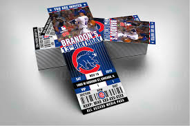sports invites chicago cubs ticket style sports party invitations