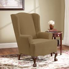 Wing Chair Slipcover Pattern Brown Pattern Linen Wingback Chair Slipcover With Curved Brown