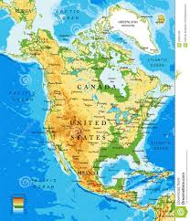 North Anerica Map Physical Map Of North America Stock Vector Image 68694198