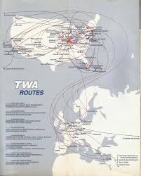 Condor Airlines Route Map by Airline Memorabilia Twa 1988 1989 1989