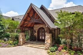 front entry timber frame cedar gable exterior rustic with