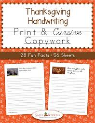 thanksgiving copywork print and cursive sallieborrink