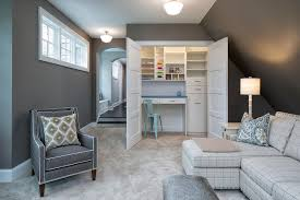 family room with closet craft room transitional den library office