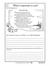 2nd grade reading writing worksheets poems setting goals
