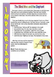 The Blind Men And The Elephant Worksheet The Blind Men And The Elephant