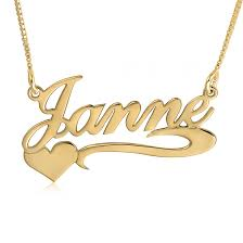 Name Chains Gold Heart Swoosh Name Necklace Gold Solidgold Namenecklace