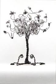 business card holder tree sculpture in copper wire and white