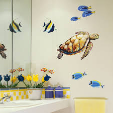 sea turtle and reef fish wall decal set bold wall art