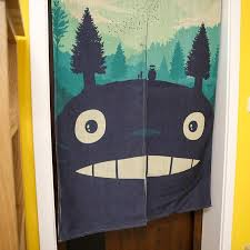 Blackout Door Curtains Totoro Cartoon Kids Room Divider Japanese Anime Linen Cotton