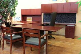 Bernhardt Dining Room Chairs by Bernhardt U0027shift U0027 Cherry U Shaped Executive Desk With Overhead