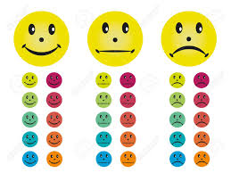 smileys happy neutral and unhappy in different colors royalty