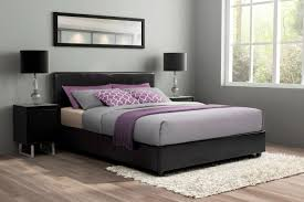 essential home queen faux leather upholstered bed