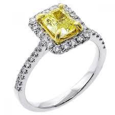 cushion cut diamond engagement rings 1 54 cts fancy yellow cushion cut diamond engagement ring set in
