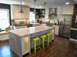 modern elegant kitchen decor modern kitchen with waterfall countertop and bar stools