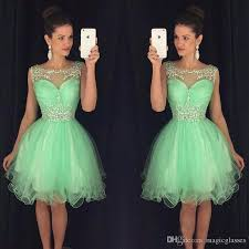 mint short homecoming dresses sweet 16 off shoulder tulle crystals