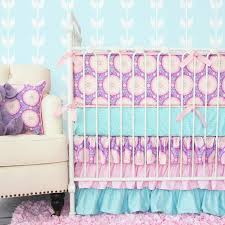 Pink And Teal Crib Bedding Aqua And Pink Purple Garden Crib Sheet By Caden