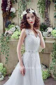 faerie wedding dresses princess a line tulle lace wedding dress with crystals belt