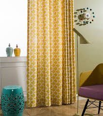 Yellow Bedroom Curtains Bedroom Curtains Pastoral Printed Window Decoration Polyester