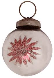 glass bauble hanging in silver color with glittery red flower u2013 3