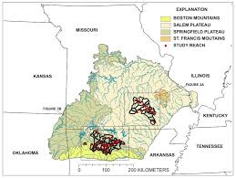 ozarks map physical aquatic habitat data ozark plateaus