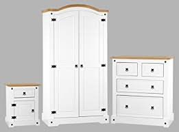Corona White Bedroom Furniture Set Wardrobe Bedside  Chest - Bedroom furniture sets uk
