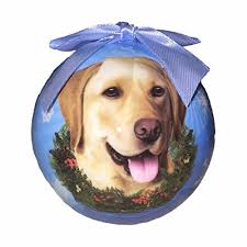 yellow lab ornaments glowing