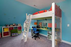 Kids Loft Bed With Desk Underneath Loft Bed With Desk Underneath Kids Contemporary With Aqua Blue