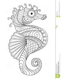 hand drawn sea horse zentangle style for coloring page t shirt