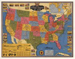 Map The United States by Vintage Pictorial Map The United States At War 1943 Hjbmaps