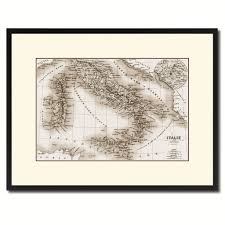 Gifts Home Decor Italy Rome Vintage Sepia Map Canvas Print Picture Frame Gifts