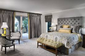 modern yellow and gray bedroom decor with nice soft gray curtains
