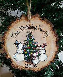 wood snowman ornament personalized family ornament