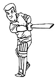 free cricket batter colouring kids activity sheets