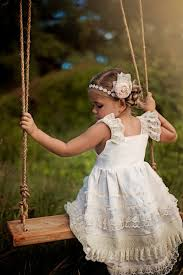 ivory linen and lace knot dress flower dress 2t 5t