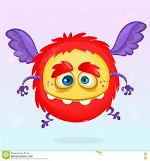 Cute Halloween Monster by Cute Cartoon Flying Monster Halloween Vector Fluffy Red Monster