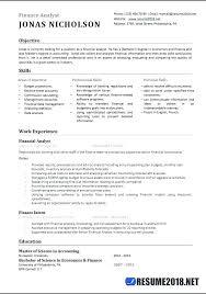 financial analyst resumes financial analyst resume template