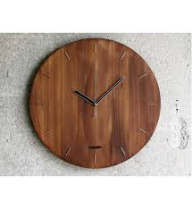 big oval wood wall clock wooden silent walnut stain hanging