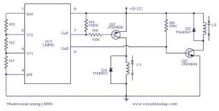 thermostat using lm56 electronic circuits and diagram