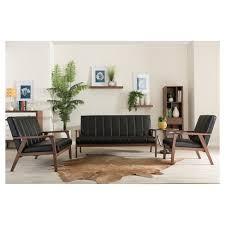 3 Pc Living Room Set Nikko Mid Century Modern Scandinavian Style Faux Leather 3 Pc
