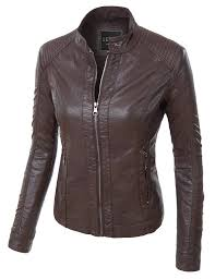 light brown vest womens le3no womens faux leather quilted zip up biker moto jacket with