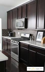 Kitchen With Dark Cabinets Grey Subway Tile Backsplash With Dark Cabinets Outofhome