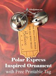 polar express inspired ornament with free printable tag