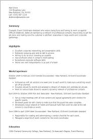 event planner resume professional event coordinator assistant templates to showcase