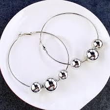 hoop beaded earrings aliexpress buy fishsheep vintage silver color loop beaded