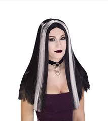 long streaked black white wig witch straight hair halloween